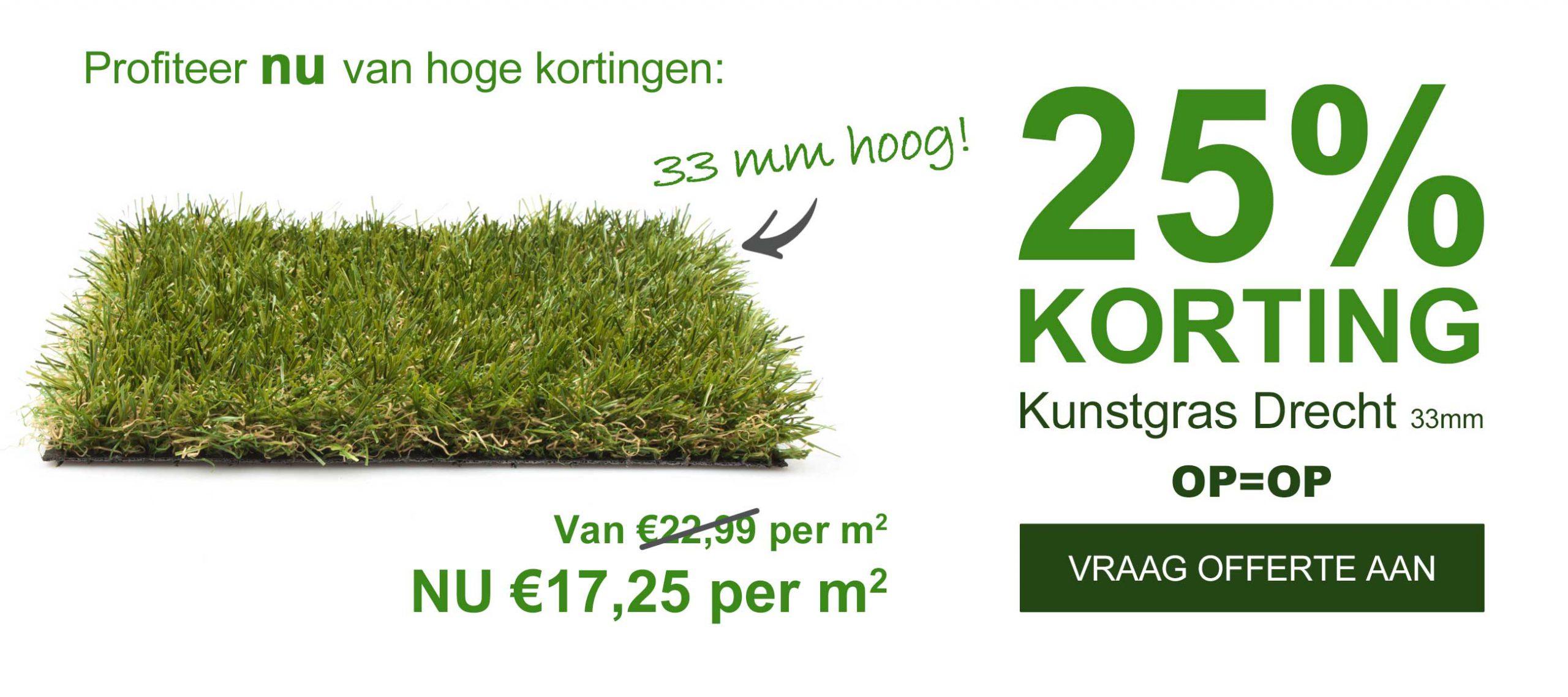 Opruiming!! 25% Korting Op Kunstgras Drecht 33mm